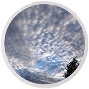 A Mackerel Sky Round Beach Towel