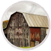 A Mail Pouch Barn In West Virginia Round Beach Towel