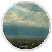 A Majestic Birds Eye View Round Beach Towel