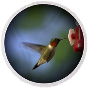 A Male Ruby-throated Hummingbird Round Beach Towel