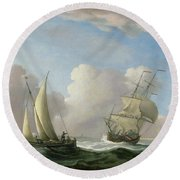 A Man-o'-war In A Swell And A Sailing Boat Round Beach Towel