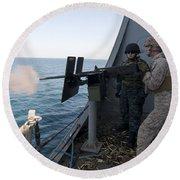 A Marine Fires A .50-caliber Machine Round Beach Towel