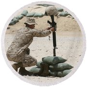 A Marine Hangs Dog Tags On The Rifle Round Beach Towel