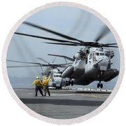 A Marine Mh-53 Helicopter Takes Round Beach Towel