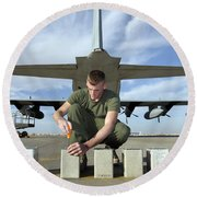 A Marine Replaces Flares In Flare Round Beach Towel