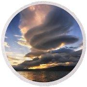 A Massive Stacked Lenticular Cloud Round Beach Towel by Arild Heitmann