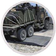 A Medium Tactical Vehicle Replenishment Round Beach Towel