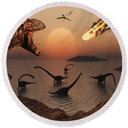 A Mighty T. Rex Roars From Overhead Round Beach Towel