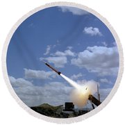 A Mim-104 Patriot Anti-aircraft Missile Round Beach Towel