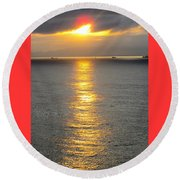 A Moment In Red And Gold Please Open Round Beach Towel