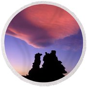 A Mono Lake Sunset Round Beach Towel