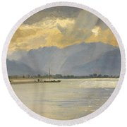 A Mountain Landscape Round Beach Towel by Unknown