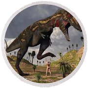 A Nano-tyrannosaurus Takes On Adam Round Beach Towel