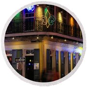 A Night In The French Quarter Round Beach Towel