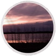 A Night Of Pink Round Beach Towel