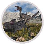 A Pack Of Velociraptors Attack A Lone Round Beach Towel