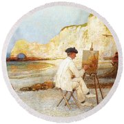 A Painter By The Sea Side Round Beach Towel