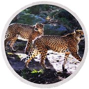 A Pair Of Cheetah's Round Beach Towel