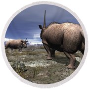 A Pair Of Male Elasmotherium Confront Round Beach Towel