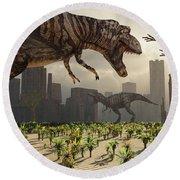 A Pair Of Tyrannosaurus Rex Explore Round Beach Towel