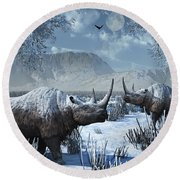 A Pair Of Woolly Rhinoceros In A Severe Round Beach Towel
