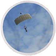 A Paratrooper Of The Belgian Army Round Beach Towel by Luc De Jaeger