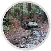 A Peaceful Redwood Creek On Mt Tamalpais Round Beach Towel