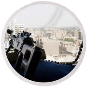 A Pk 7.62mm Machine Gun Nest On Top Round Beach Towel by Terry Moore