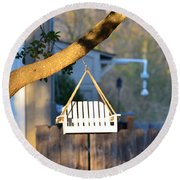 A Place To Perch Round Beach Towel by Nikki Marie Smith