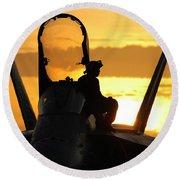 A Plane Captain Enjoys A Sunset Round Beach Towel
