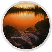 A Pond At Sunset, British Columbia Round Beach Towel