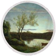 A Pond With Three Cows And A Crescent Moon Round Beach Towel
