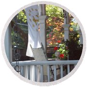 A Porch To Reflect Round Beach Towel