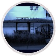 A Quiet Place By The Marsh Round Beach Towel