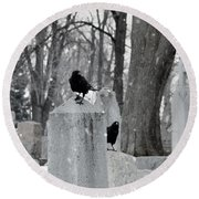 A Quiet Winter Day At The Graveyard Round Beach Towel