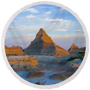 A Red Sunrise Illuminates The Hills In Round Beach Towel