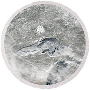 A Relatively Rare Blanket Of Ice Rests Round Beach Towel by Stocktrek Images
