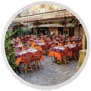 A Restaurant In Sarlat France Round Beach Towel