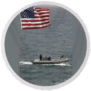 A Rigid Hull Inflatable Boat Round Beach Towel