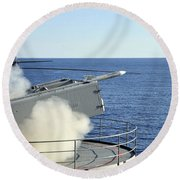 A Rim-7 Sea Sparrow Is Launched Round Beach Towel
