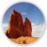 A Rock At Arches Round Beach Towel