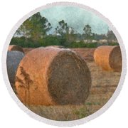 A Roll In The Hay Round Beach Towel
