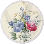 A Rose Anemone Mignonette And Daisies Round Beach Towel