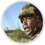 A Royal Brunei Land Force Soldier Round Beach Towel by Stocktrek Images