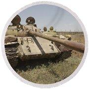 A Russian T-55 Main Battle Tank Round Beach Towel