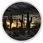 A Saguaro Sunrise  Round Beach Towel