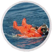 A Sailor Rescued By A Diver Round Beach Towel by Stocktrek Images