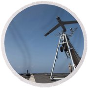 A Scan Eagle Unmanned Aerial Vehicle Round Beach Towel