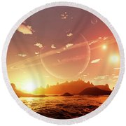A Scene On A Distant Moon Orbiting Round Beach Towel