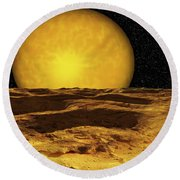 A Scene On A Moon Of Upsilon Andromeda Round Beach Towel